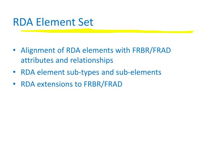RDA Element Set