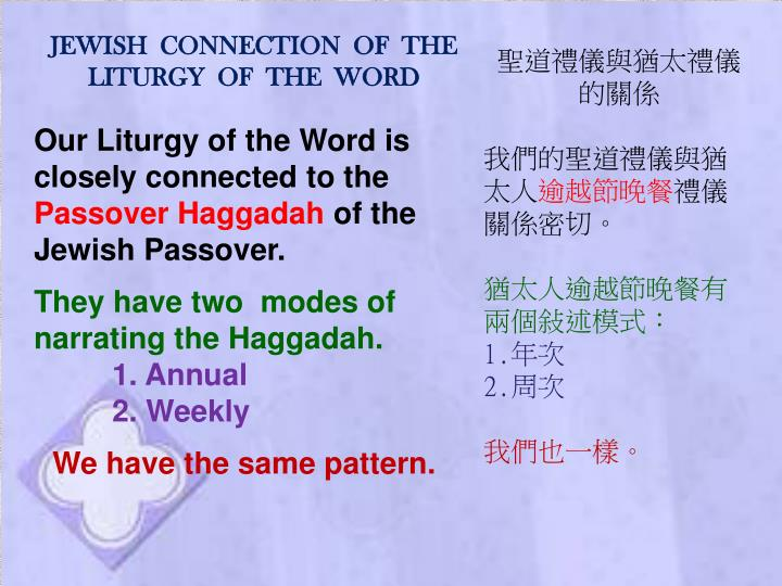 JEWISH  CONNECTION  OF  THE  LITURGY  OF  THE  WORD