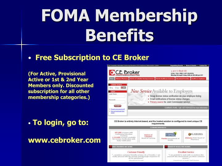 Foma membership benefits