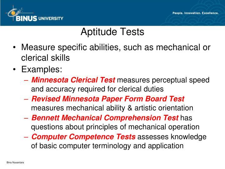 Aptitude Tests