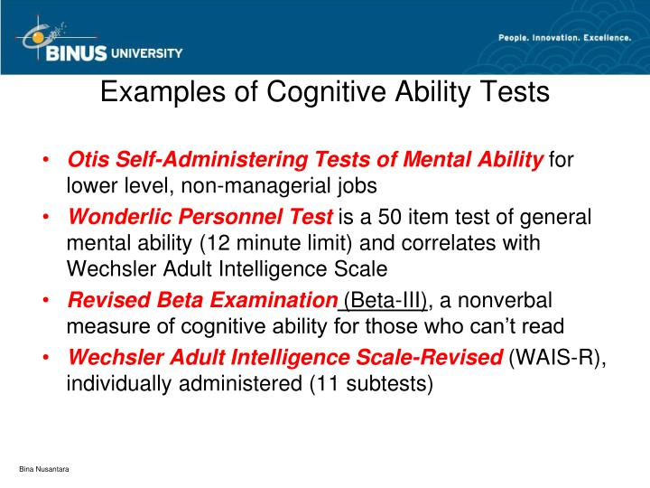 Examples of Cognitive Ability Tests