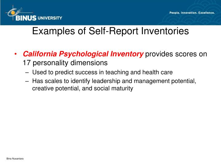 Examples of Self-Report Inventories