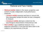 rational and face validity