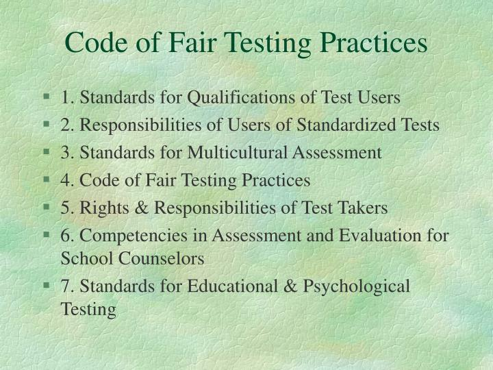 Code of Fair Testing Practices