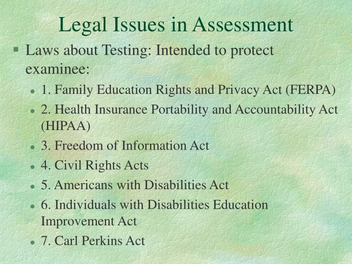 Legal Issues in Assessment