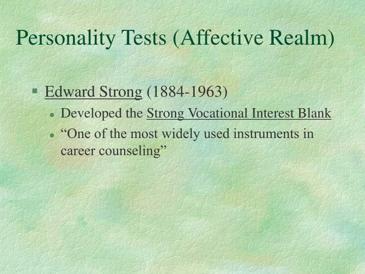 Personality Tests (Affective Realm)