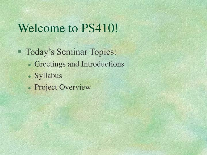 Welcome to ps4102
