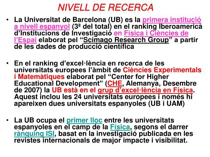 NIVELL DE RECERCA