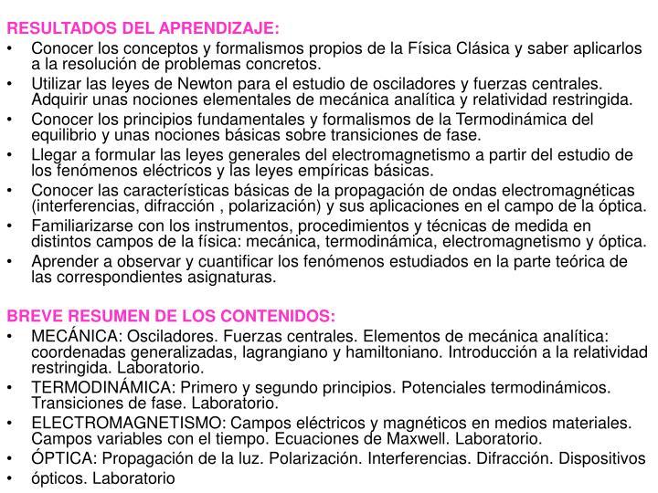 RESULTADOS DEL APRENDIZAJE: