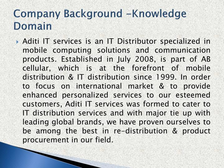 Company Background -Knowledge Domain