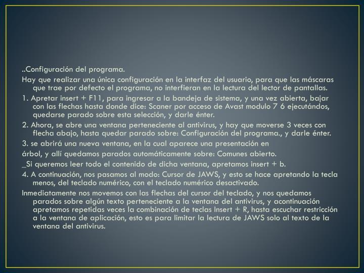 ..Configuración del programa.