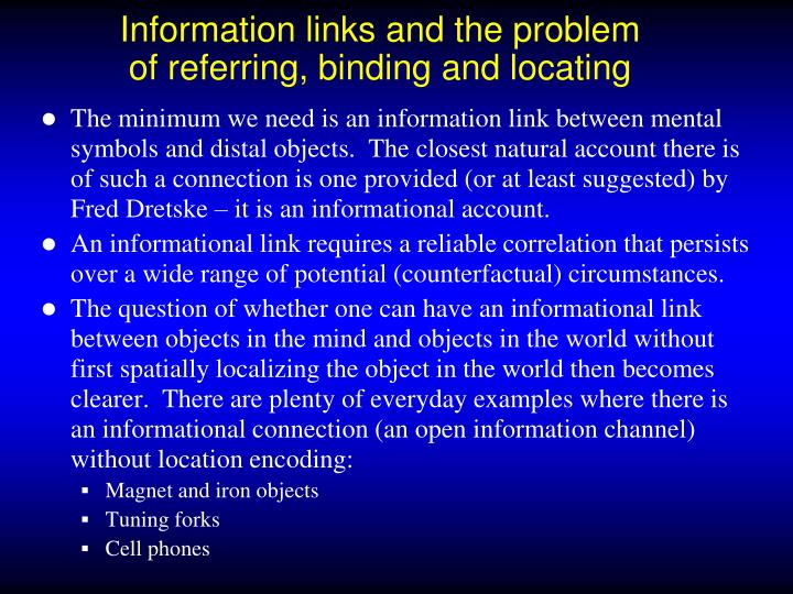 Information links and the problem of referring, binding and locating