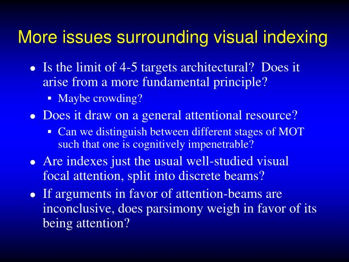 More issues surrounding visual indexing