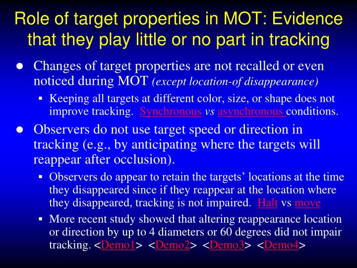 Role of target properties in MOT: Evidence that they play little or no part in tracking