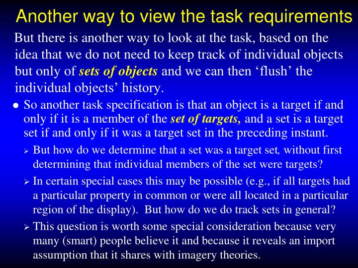 Another way to view the task requirements