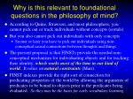 why is this relevant to foundational questions in the philosophy of mind