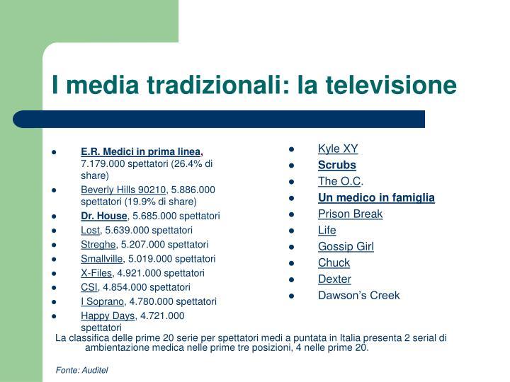 I media tradizionali: la televisione
