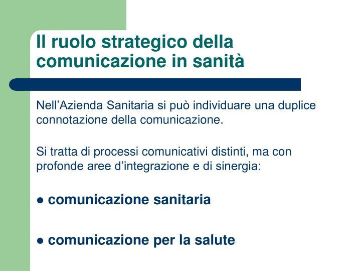 Il ruolo strategico della comunicazione in sanità