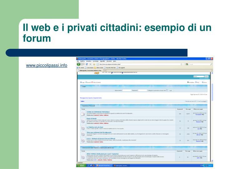 Il web e i privati cittadini: esempio di un forum