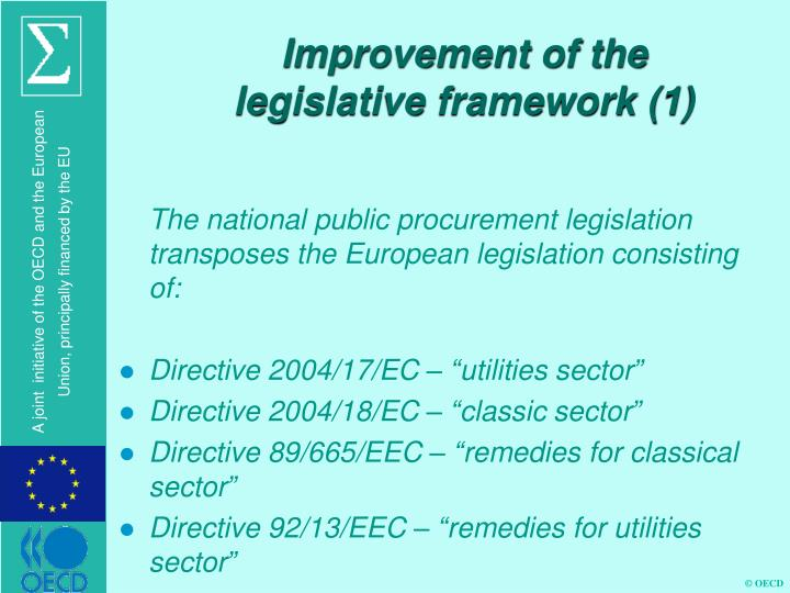 Improvement of the legislative framework (1)