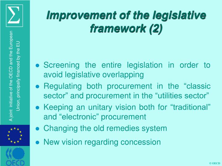 Improvement of the legislative framework (2)