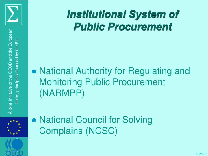 Institutional System of Public Procurement