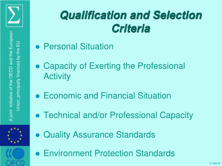 Qualification and Selection Criteria