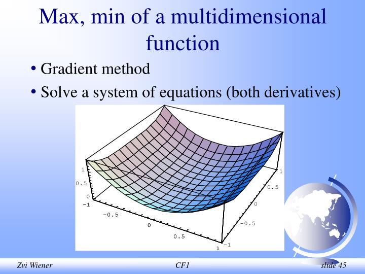 Max, min of a multidimensional function