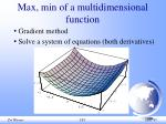 max min of a multidimensional function