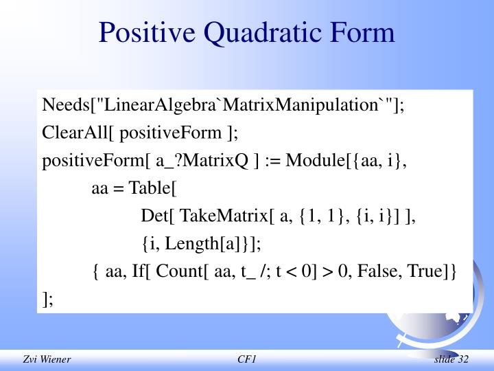 Positive Quadratic Form