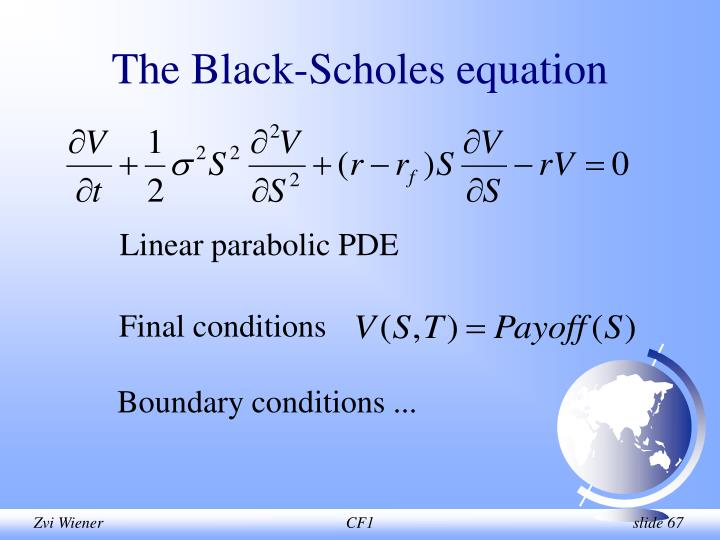 The Black-Scholes equation