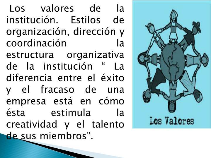 """Los valores de la institución. Estilos de organización, dirección y coordinación la estructura organizativa de la institución """" La diferencia entre el éxito y el fracaso de una empresa está en cómo ésta estimula la creatividad y el talento de sus miembros""""."""
