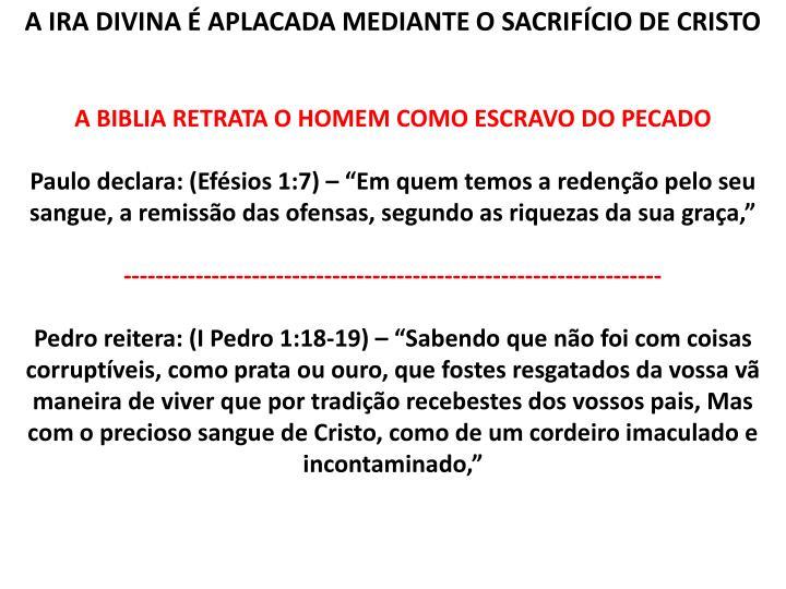 A IRA DIVINA É APLACADA MEDIANTE O SACRIFÍCIO DE CRISTO
