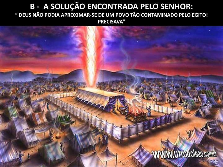 B -  A SOLUÇÃO ENCONTRADA PELO SENHOR: