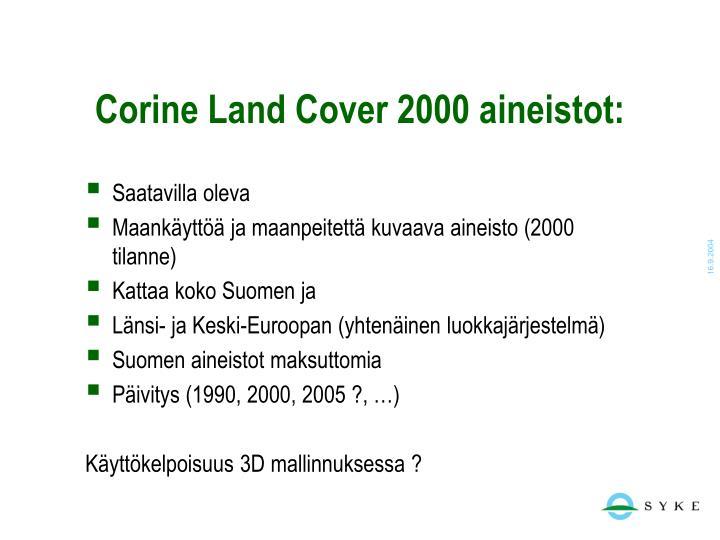 Corine Land Cover 2000 aineistot: