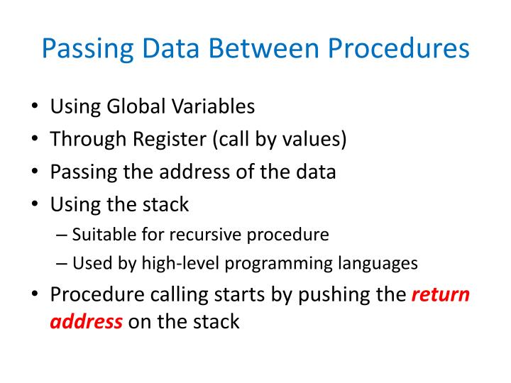 Passing Data Between Procedures