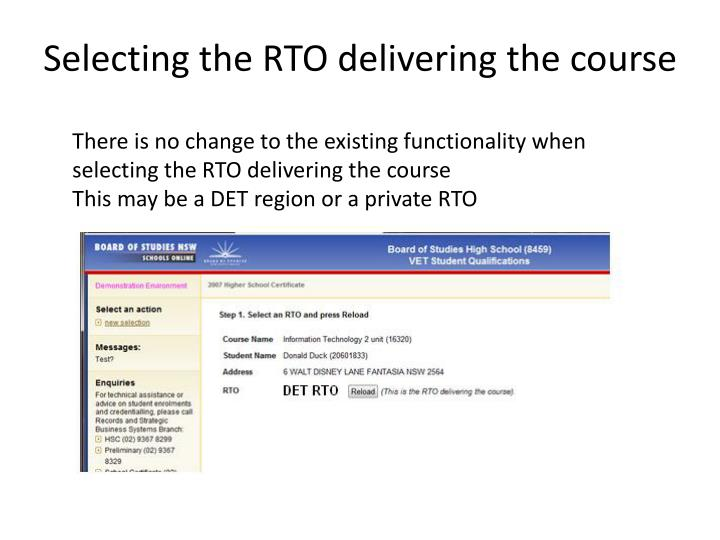 Selecting the RTO delivering the course