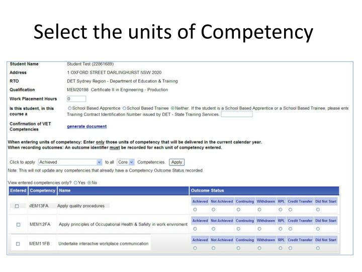 Select the units of Competency