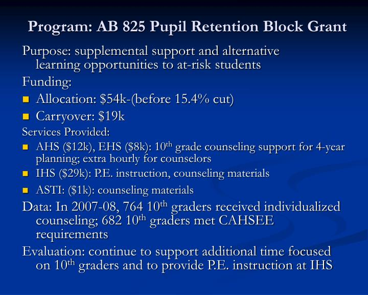 Program: AB 825 Pupil Retention Block Grant