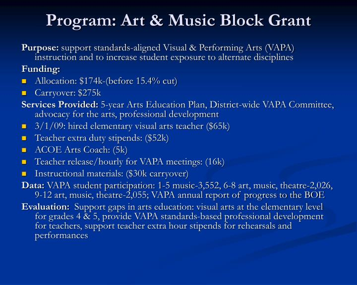 Program: Art & Music Block Grant