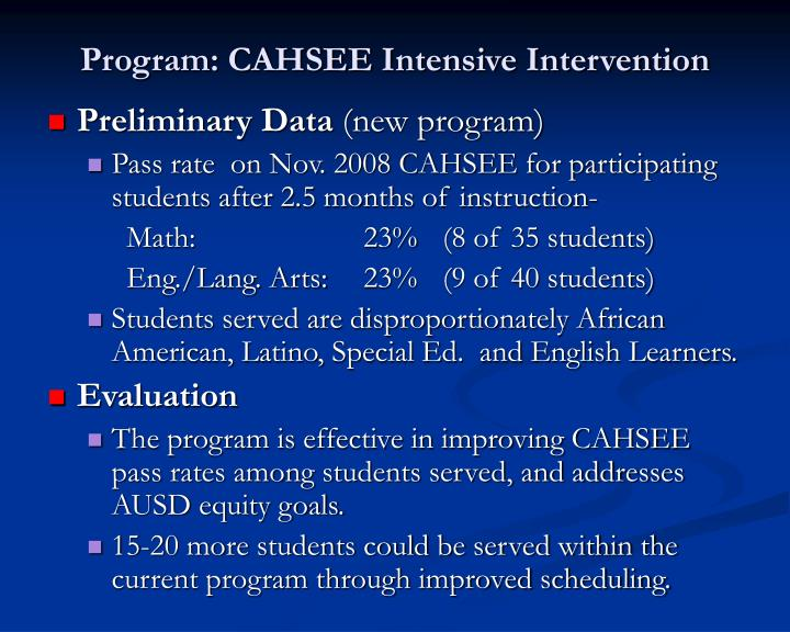 Program cahsee intensive intervention1