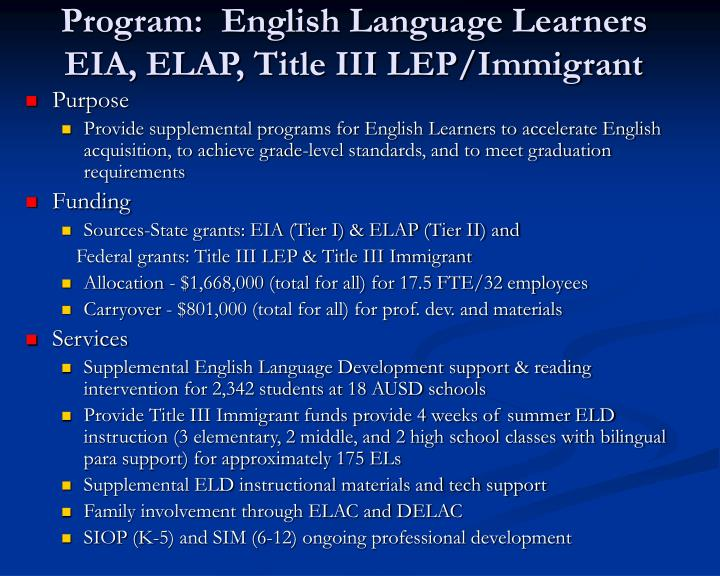 Program:  English Language Learners