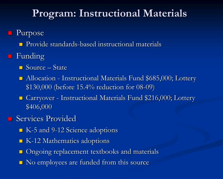 Program: Instructional Materials