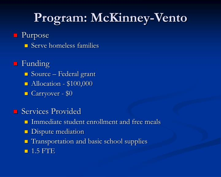 Program: McKinney-Vento