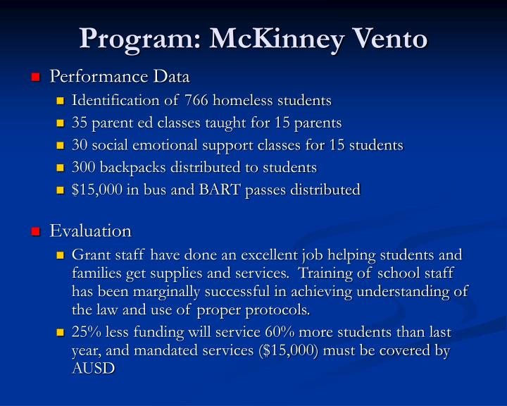 Program: McKinney Vento