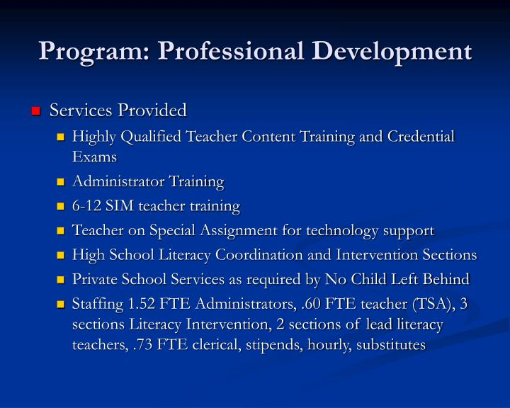 Program: Professional Development