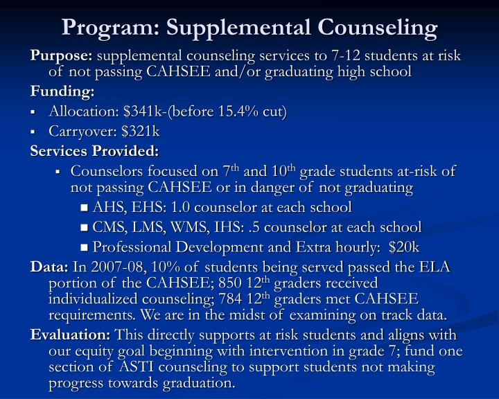 Program: Supplemental Counseling