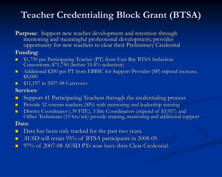 Teacher Credentialing Block Grant (BTSA)