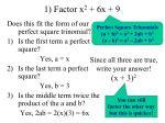 1 factor x 2 6x 9