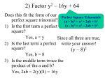 2 factor y 2 16y 64
